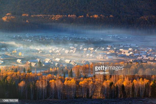 hemu village in autumn - xinjiang province stock photos and pictures