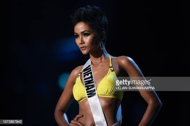 H'Hen Nie of Vietnam competes in the swimsuit competition during the 2018 Miss Universe pageant in Bangkok on December 13 2018