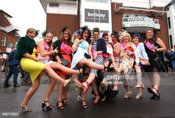 A hen party attends Aintree Races on Ladies Day at Aintree Racecourse on April 13 2018 in Liverpool England