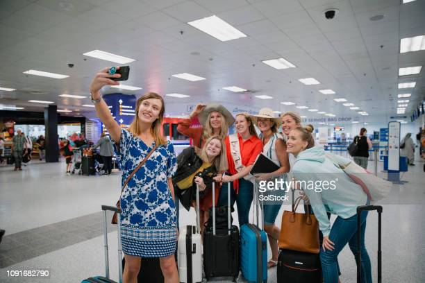 Hen Party Taking an Airport Selfie