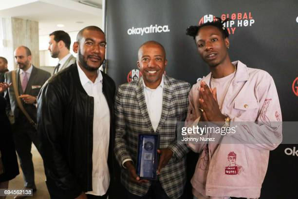 Hen Roc Kevin Liles and Joey Bada$$ attend Global Hip Hop Day 2017 on June 8 2017 in New York City
