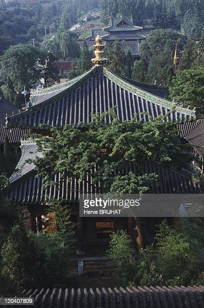Henan in Shaolin, China - Construction of new buildings outside the left wing of the temple. These pavilions will house monks as well as pilgrims who...