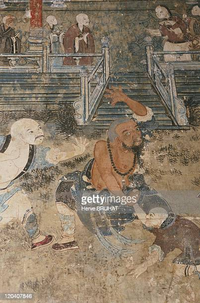 Henan in Shaolin China Details of frescoes painted during the Qing Dynasty They decorate the walls of the Pavilion of the White Robe where a...