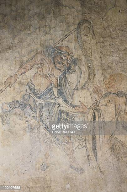 Henan in Shaolin, China - Details of original frescoes from the Hall of a Thousand Buddha's. These remarkable drawings were painted during the Ming...