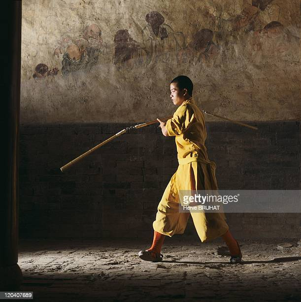 Henan in Shaolin China Handling the 3section stick in the Hall of a Thousand Buddha's During the peasant revolts agricultural tools such as rakes...