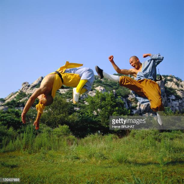 Henan in Shaolin, China - Leaping sessions at the lake of Five Dragons. The person to the left is parrying the attack of his adversary's blow from...