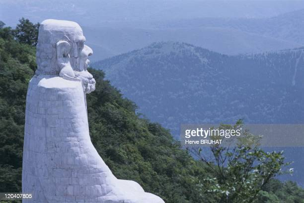 Henan in Shaolin China On the summit of the northeast slope of the mountain at Wuru Feng the statue of the monk Da Mo constructed in 1985 looks...