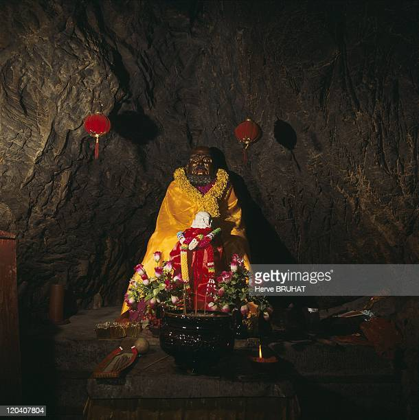 Henan in Shaolin, China - The Bodhidharma Cave is a natural cave seven meters long and three meters wide located on the northwest slope of the...