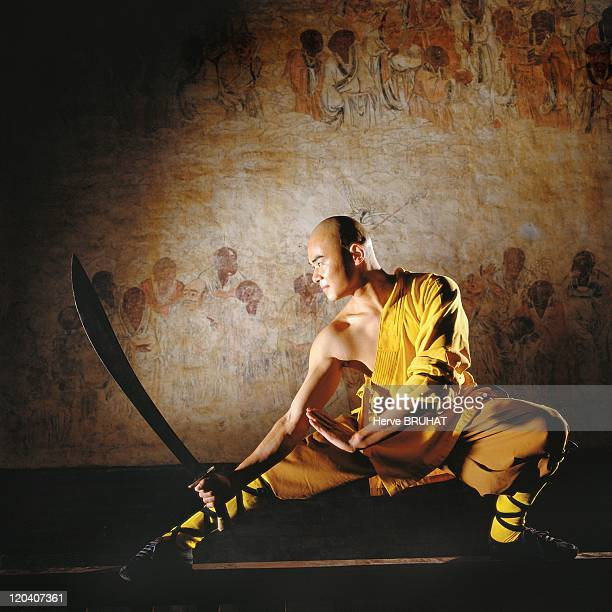 Henan in Shaolin, China - The walls of the Hall of a Thousand Buddha's are covered with original frescoes dating from the Ming Dynasty . They show...