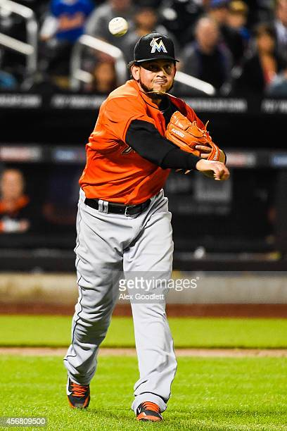 Henderson Alvarez of the Miami Marlins throws to first during a game against the New York Mets at Citi Field on September 17 2014 in the Flushing...