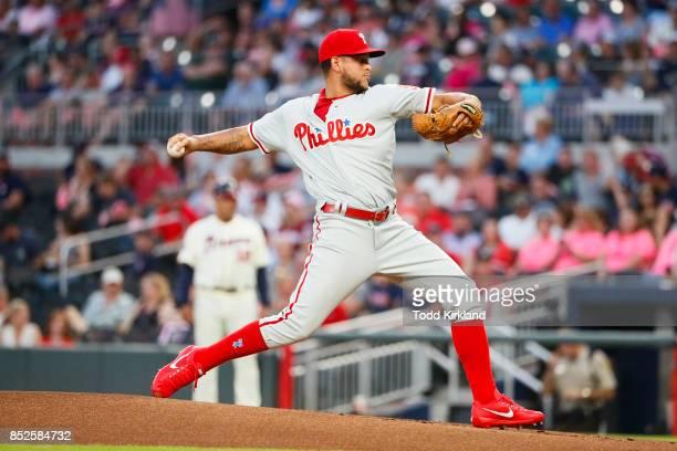 Henderson Alvarez of the Philadelphia Phillies delivers in the first inning of an MLB game against the Atlanta Braves at SunTrust Park on September...