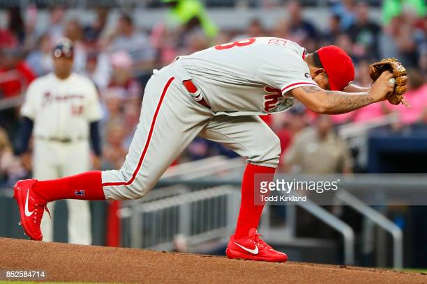 Henderson Alvarez of the Philadelphia Phillies winds up in the first inning of an MLB game against the Atlanta Braves at SunTrust Park on September...