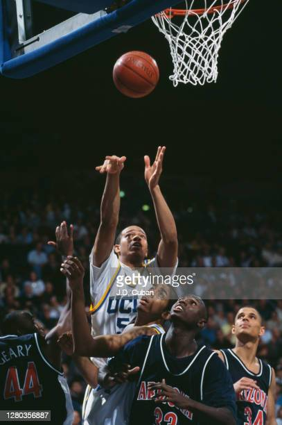 Henderson, Forward for the University of California, Los Angeles UCLA Bruins shoots for the basket during the NCAA Pac-10 Conference college...