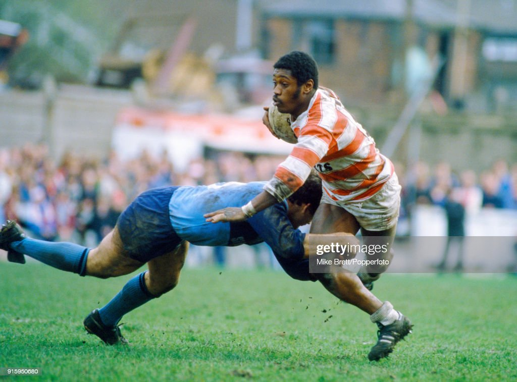 Henderson Gill of Wigan (with the ball) in rugby league action against St Helens on 5th April 1985.