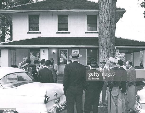 MAY 23 1956 MAY 24 1956 Henderson Mayor Nicholson councilmen and city officials stand before the main building at the Denver county farm during an...