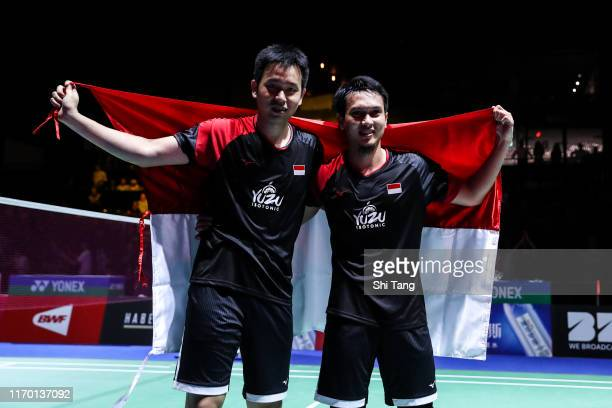 Hendra Setiawan and Mohammad Ahsan of Indonesia celebrate the victory in the Men's Double final match against Takuro Hoki and Yugo Kobayashi of Japan...