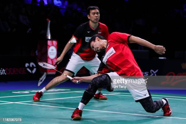 Hendra Setiawan and Mohammad Ahsan of Indonesia compete in the Men's Doubles semi finals match against Keigo Sonoda and Takeshi Kamura of Japan on...