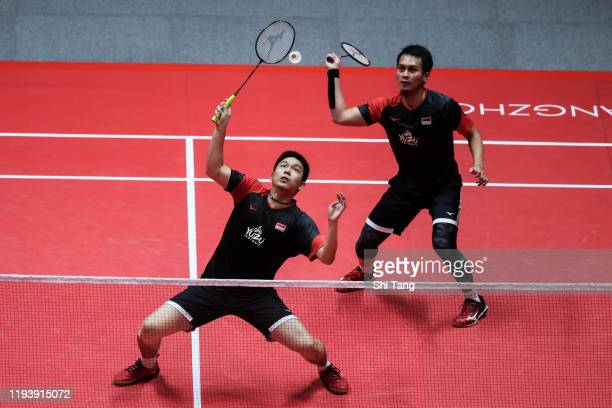 Hendra Setiawan and Mohammad Ahsan of Indonesia compete in the Men's Doubles round semi finals against Wang Chi-Lin and Lee Yang of Chinese Taipei...