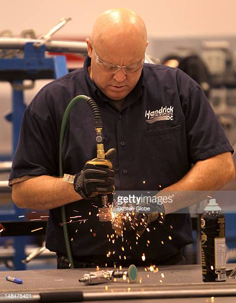Hendrick employee at work in the chassis shop at Hendrick Motorsports in Concord NC