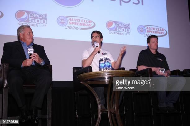 Hendrick Motorsports president Rick Hendrick NASCAR drivers Jeff Gordon and Dale Earnhardt Jr speak during The Pepsi 500 Auto Club Speedway...