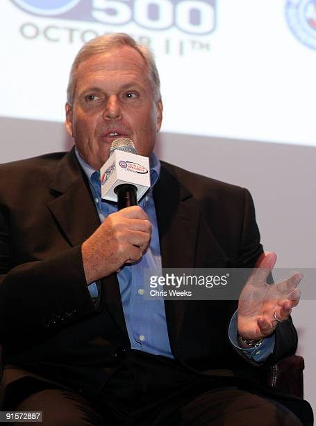 Hendrick Motorsports president Rick Hendrick speaks during The Pepsi 500 Auto Club Speedway Celebration Q A held at the Roosevelt Hotel on October 7...