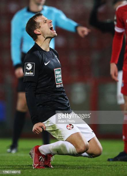 Hendrick Zuck of 1. FC Kaiserslautern is dejected after missing an easy chance at goal during the 3. Liga match between SpVgg Unterhaching and 1. FC...