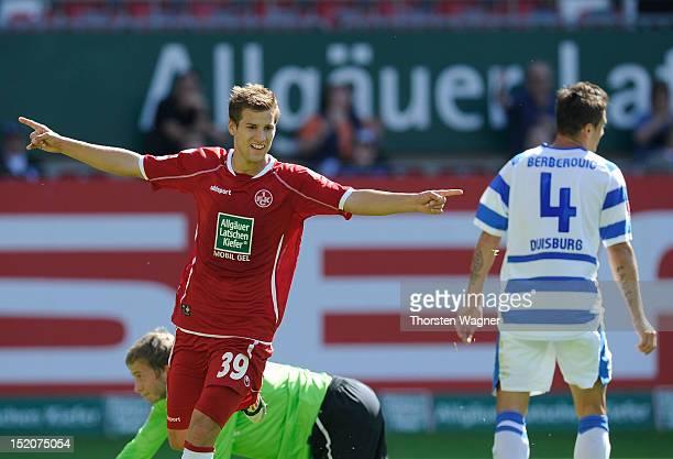 Hendrick Zuck of Kaiserslautern celebrates after scoring his teams first goal during the second Bundesliga match between 1FC Kaiserslautern and MSV...