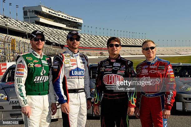 Hendricks Motorsports drivers Dale Earnhardt Jr Jimmie Johnson Jeff Gordon and Mark Martin pose for the media to honor Rick Hendrick prior to...