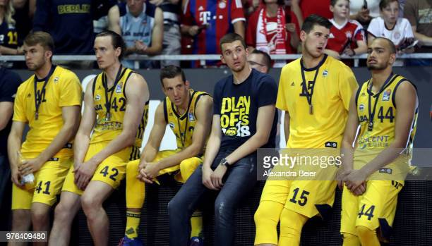 Hendrik Drescher Dennis Clifford Spencer Butterfield Bogdan Radosavljevic and Stefan Peno of Alba Berlin are pictured after loosing the fifth and...