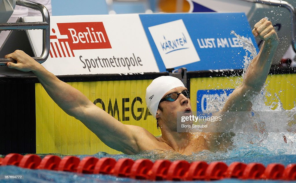 Hendrik Feldwehr of SG Essen celebrates after winning the men's 100m breaststroke A final during day two of the German Swimming Championship 2013 at the Eurosportpark on April 27, 2013 in Berlin, Germany.