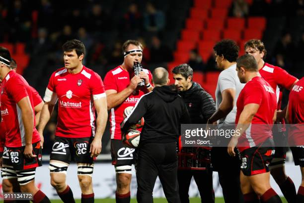 Hendrik Lambertus Roodt of Lyon and Julien Puricelli of Lyon and Pierre Mignoni Coach of Lyon during the Top 14 match between Lyon and Agen at...