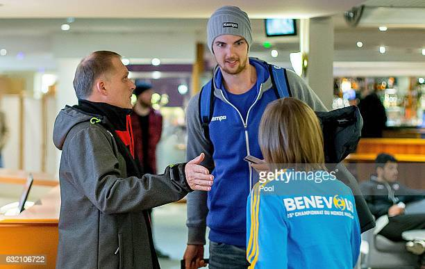 Hendrik Pekeler of Germany arrives at the German team hotel after being called up as a late replacement for Rune Dahmke for the German IHF World...
