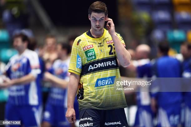 Hendrik Pekeler of RheinNeckar Loewen reacts afterthe EHF Champions League match between Rhein Neckar Loewen and MolPick Szeged at FraportArena on...