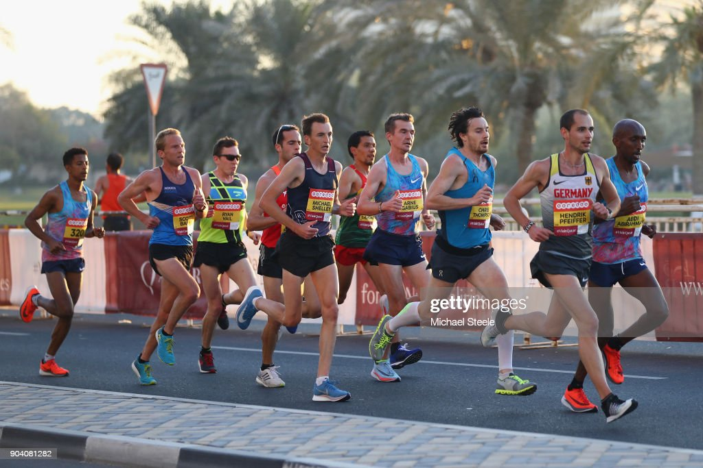 Hendrik Pfeiffer of Germany, Abdi Abirahman of USA,Chris Thompson of Great Britain,Arne Gabius of Germany, Michael Shelley of Australia, Scotty Bauhs of USA; Ryan Vail of USA and Eyob Daniel of Italy during the men's elite half marathon on La Corniche. The Ooredoo Doha Marathon is Qatar's largest mass-participation sports event with 2,400 athletes representing 83 countries. The sixth edition included elite athletes competing for prize money of $50,000 in half marathon distance on a 10km loop route along La Corniche on January 12, 2018 in Doha, Qatar.