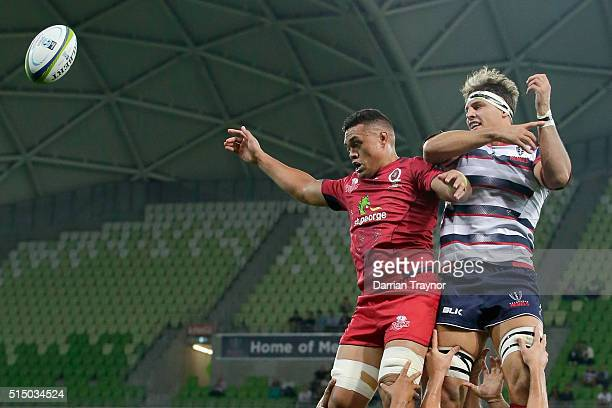 Hendrik Tui of the Reds and Luke Jones of the Rebels compete in a line out during the round three Super Rugby match between the Rebels and the Reds...