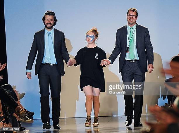Hendrik Vermeulen model Madeline Stuart and JeanDaniel MeyerVermeulen walk the runway finale at Hendrik Vermeulen show during Spring 2016 during New...