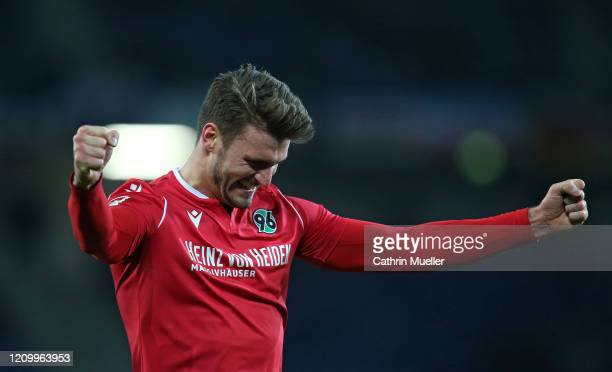 Hendrik Weydandt of Hannover 96 celebrates after scoring a goal during the Second Bundesliga match between Hannover 96 and Holstein Kiel at HDI-Arena...