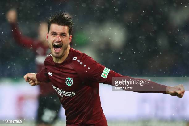 Hendrik Weydandt of Hannover 96 celebrates his teams second goal of the game during the Bundesliga match between Hannover 96 and Bayer 04 Leverkusen...