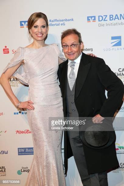 Hendrike Brenninkmeyer and Wigald Boning during the annual Carl Laemmle Producer Award at Kulturhaus Laupheim near Grosslaupheim Castle on March 16...