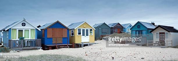 ヘンギスベリーヘッドビーチハッツパノラマに広がる - 英国 ドーセット ストックフォトと画像