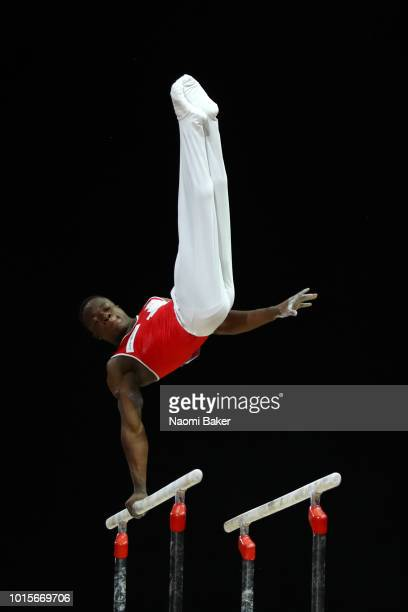 Henji Mboyo of Switzerland competes in Parallel Bars during the Men's Gymnastics Final on Day Eleven of the European Championships Glasgow 2018 at...