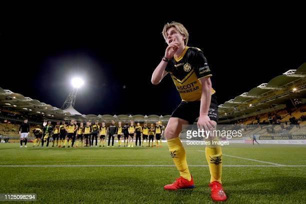 Henk Dijkhuizen of Roda JC celebrates the victory during the Dutch Keuken Kampioen Divisie match between Roda JC v SC Cambuur at the Parkstad Limburg...