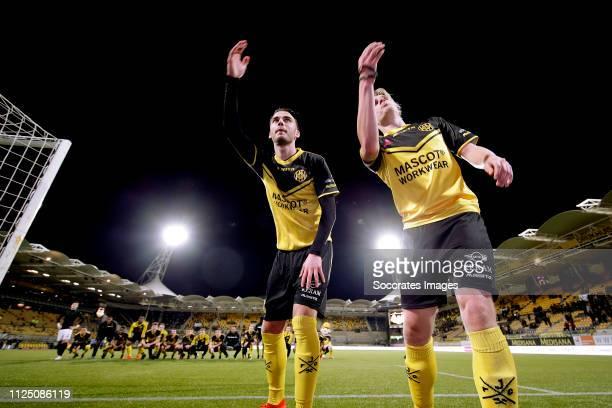 Henk Dijkhuizen of Roda JC celebrates the victory with Livio Milts of Roda JC during the Dutch Keuken Kampioen Divisie match between Roda JC v SC...