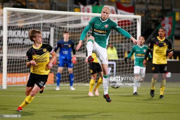 Henk Dijkhuizen of Roda JC Daniel Breedijk of FC Dordrecht during the Dutch Keuken Kampioen Divisie match between Roda JC v FC Dordrecht at the...