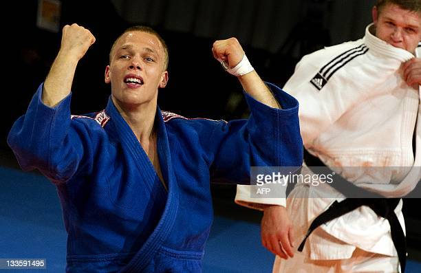 Henk Grol celebrates after winning the final 100kg match against Maxim Rakov of Kazakhstan at the Grand Prix Judo competition in Amsterdam on...