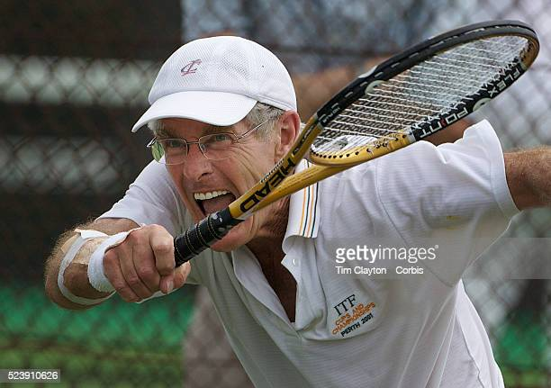 Henk Nijeboer, Great Britain, in action in the 65 Mens Singles during the 2009 ITF Super-Seniors World Team and Individual Championships at Perth,...
