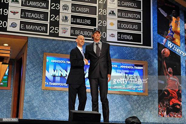 Henk Norel shakes hands with NBA Deputy Commissioner Adam Silver after being selected number forty seven overall by the Minnesota Timberwolves during...