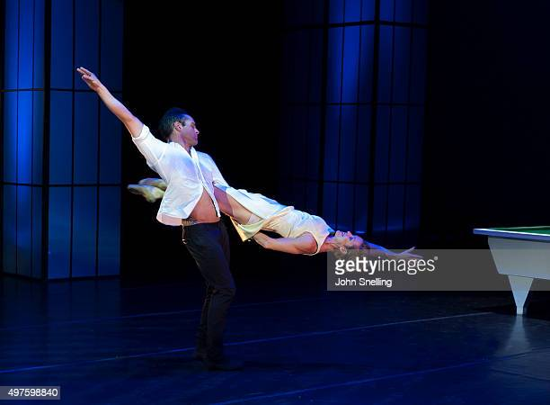 Henk Opperman as Elvis Presley and Nicola van der Merwe as Priscilla Presley perform on stage during a performance of Private Presley at the Baxter...