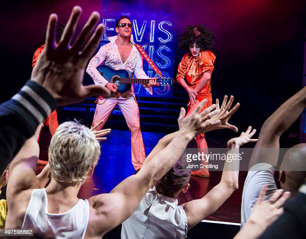 Henk Opperman as Elvis Presley with the company performs on stage during a performance of Private Presley at the Baxter Theatre on November 12 2015...