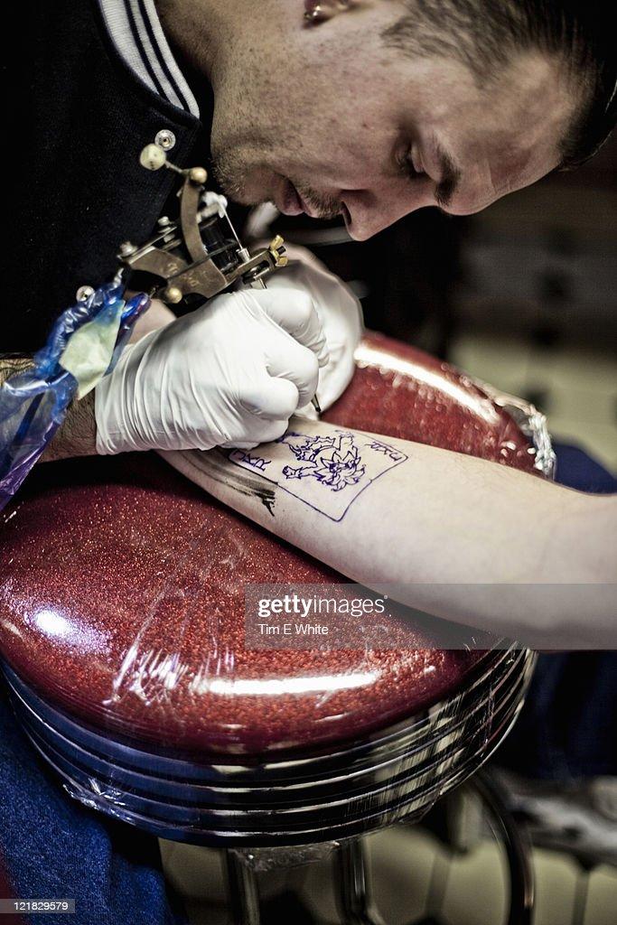 Henk Schiffmacher's Hanky Panky, Tattoo Parlour, Amsterdam, Netherlands : Stock Photo